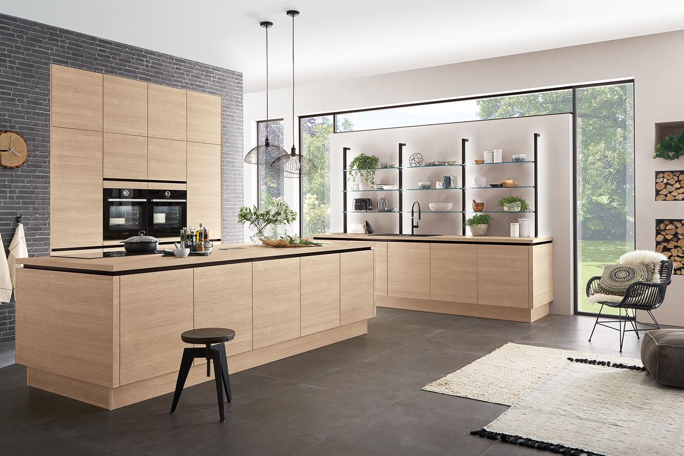 grifflose Küche Holzfront