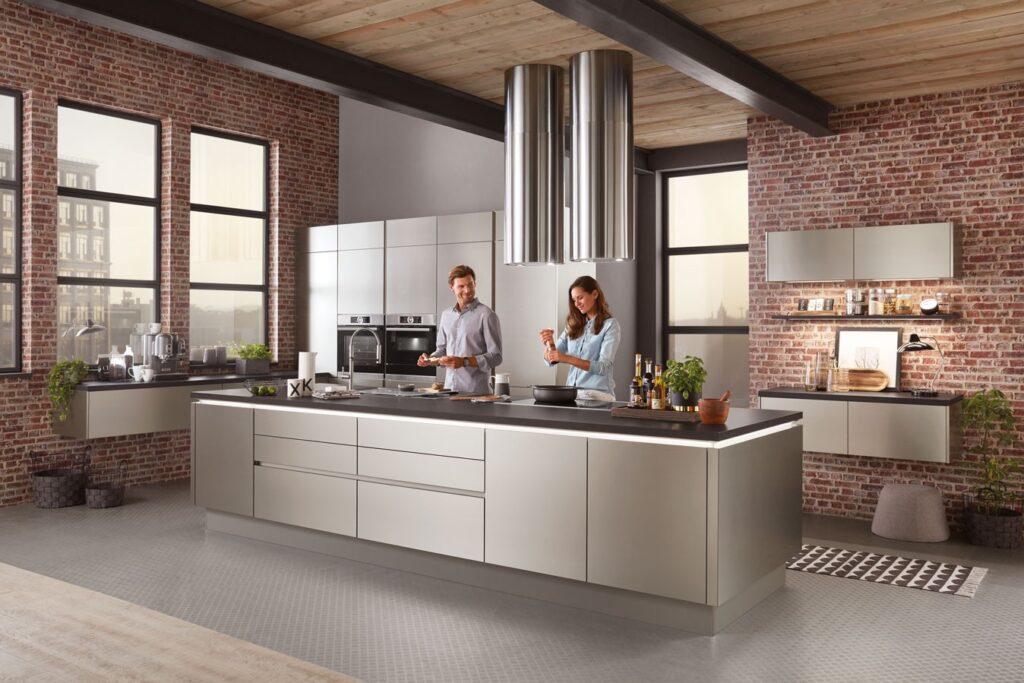 grifflose Küche industriestyle