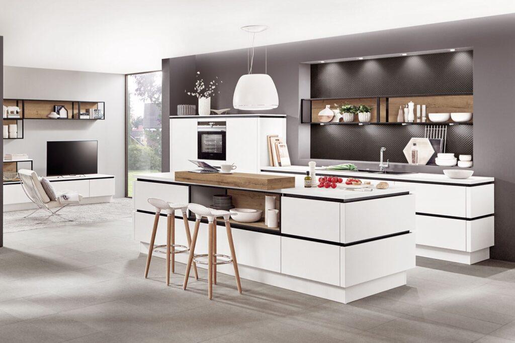 grifflose Küche weiß und schlicht