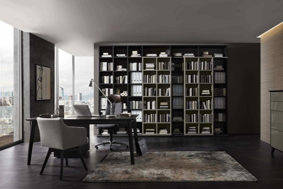 Arbeitszimmer und Büro Arbeitszimmer Bueroeinrichtung Schreibtisch Bürostuhl Aktenschrank Büromöbel maßgeschneidert modern Arbeiten Regelsystem