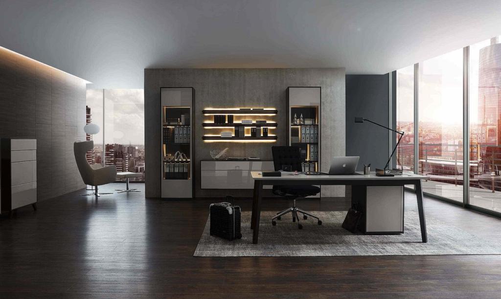 Arbeitszimmer und Büro Bueroeinrichtung Arbeitszimmer Schreibtisch Bürostuhl Aktenschrank Büromöbel maßgeschneidert grau schwarz modern Arbeiten
