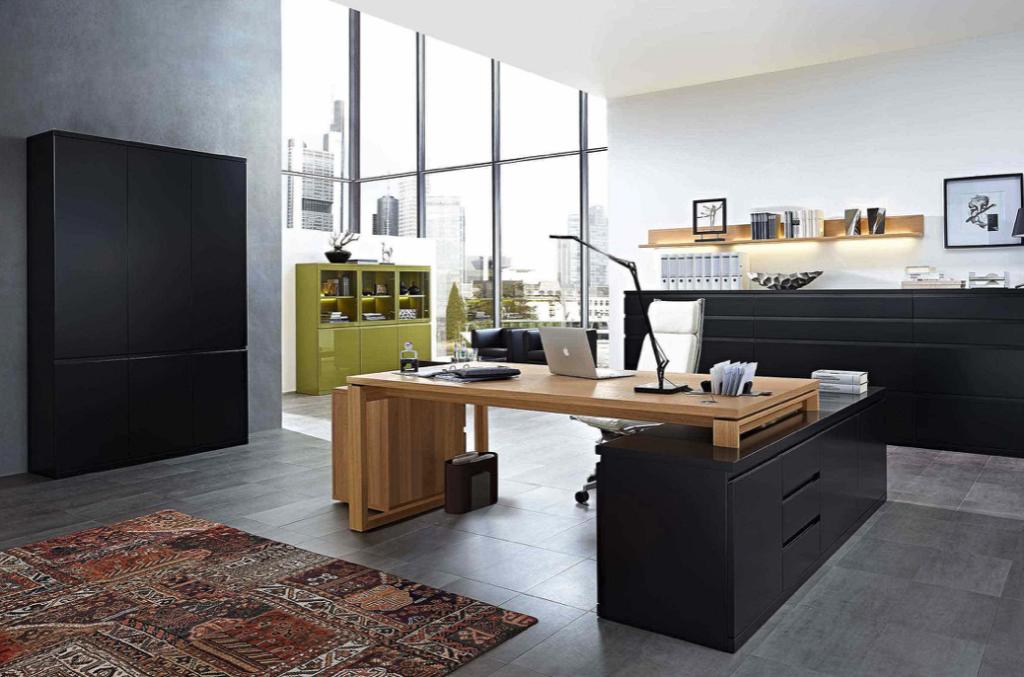Arbeitszimmer und Büro Bueroeinrichtung Schreibtisch Bürostuhl Aktenschrank hochwertig schwarz moderne Arbeiten